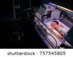 Small photo of Premature little baby in an incubator at the neonatal section of the maternity