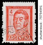 argentina   1950  a stamp... | Shutterstock . vector #75754591