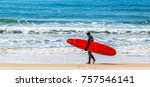 surfer and his surfboard. | Shutterstock . vector #757546141