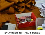 many colour of garment pins in... | Shutterstock . vector #757550581