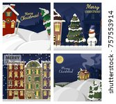 winter landscape with christmas ... | Shutterstock .eps vector #757553914