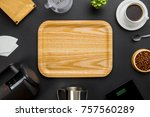 wooden tray surrounded by... | Shutterstock . vector #757560289