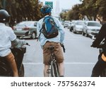bike at the summer sunset on... | Shutterstock . vector #757562374