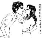 line art sketch of a girl not... | Shutterstock .eps vector #757573231