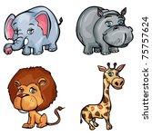 set of cartoon wild animals... | Shutterstock .eps vector #75757624