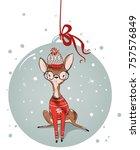 cute watercolor winter deer | Shutterstock .eps vector #757576849