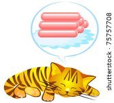 Stock photo red tabby dreams of sausages 75757708