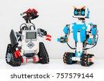 Small photo of November, 2017. Minsk, Belarus. Lego Boost Robot Vernie VS Lego Mindstorms EV 3 Wally. Robotics class for child and teen. School. Mathematics. Chemistry. STEM education.