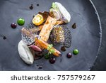 food elegant black plate | Shutterstock . vector #757579267
