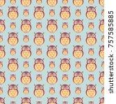 owl seamless pattern    Shutterstock .eps vector #757585885
