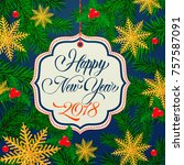 happy new year lettering on tag | Shutterstock .eps vector #757587091