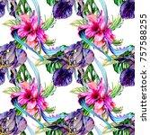 watercolor exotic tropical... | Shutterstock . vector #757588255