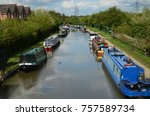 canal boats in coventry canal ... | Shutterstock . vector #757589734