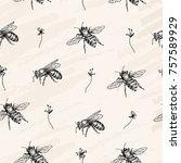 vector seamless pattern. bees... | Shutterstock .eps vector #757589929