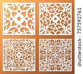 laser cut ornamental square... | Shutterstock .eps vector #757592761