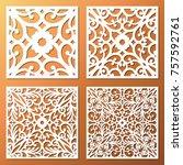 laser cut ornamental square... | Shutterstock .eps vector #757592761