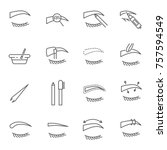 set of eyebrow related vector... | Shutterstock .eps vector #757594549