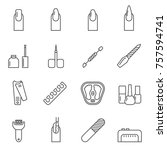 set of nail related vector line ...