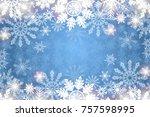 Blue Snowy Background White...