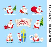 collection of christmas santa... | Shutterstock .eps vector #757599451