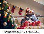 two attractive cute friends... | Shutterstock . vector #757600651
