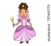 a girl dressed as a princess | Shutterstock .eps vector #757602775