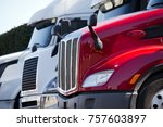 bright red and white big rigs... | Shutterstock . vector #757603897