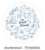 cute forest animal szene with... | Shutterstock .eps vector #757605361