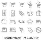 set of e commerce related... | Shutterstock .eps vector #757607719
