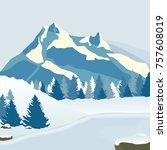 winter pine forest on the shore ... | Shutterstock .eps vector #757608019