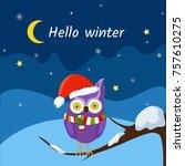 hello winter. winter season.... | Shutterstock .eps vector #757610275
