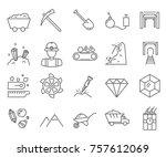 set of diamond mining related... | Shutterstock .eps vector #757612069
