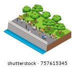 isometric landscaping... | Shutterstock . vector #757615345