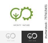 infinity nature logo   gear... | Shutterstock .eps vector #757615651