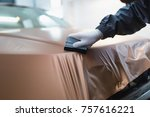 car wrapping specialist putting ... | Shutterstock . vector #757616221