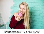 beautiful young woman enjoying...   Shutterstock . vector #757617649