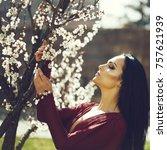 spring fashion girl outdoors...   Shutterstock . vector #757621939