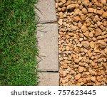 grass bricks and stone... | Shutterstock . vector #757623445