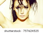 portrait closeup of one pretty...   Shutterstock . vector #757624525