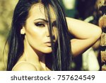 young beautiful woman with...   Shutterstock . vector #757624549