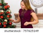 beautiful young woman...   Shutterstock . vector #757625149