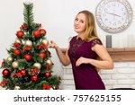 beautiful young woman...   Shutterstock . vector #757625155