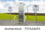 electric car charging station... | Shutterstock . vector #757626691