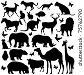 Stock vector illustration of collection of animal silhouettes on isolated background 75762790