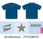 jeans t shirt vector template... | Shutterstock .eps vector #757628074