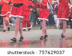 Marchers In A Christmas Parade...