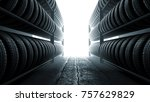 3d illustration  car tires rack ... | Shutterstock . vector #757629829