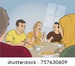 friends having dinner  | Shutterstock .eps vector #757630609