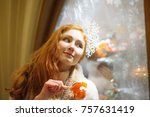 christmas portrait of a red...   Shutterstock . vector #757631419