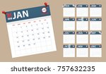 2018 calendar in paper stickers ... | Shutterstock . vector #757632235